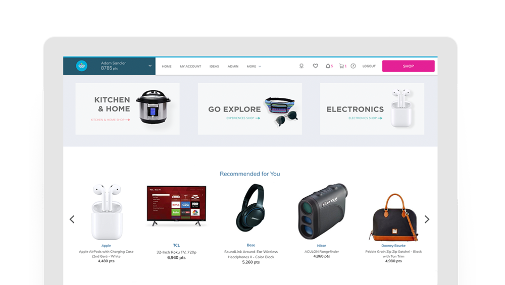 Rewardian responsive platform showing user dashboard and catalog rewards items
